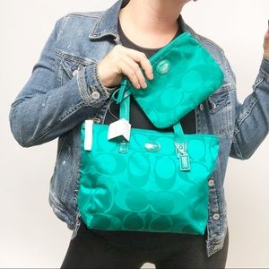 Coach Signature Logo Nylon Tote purse bag F77322